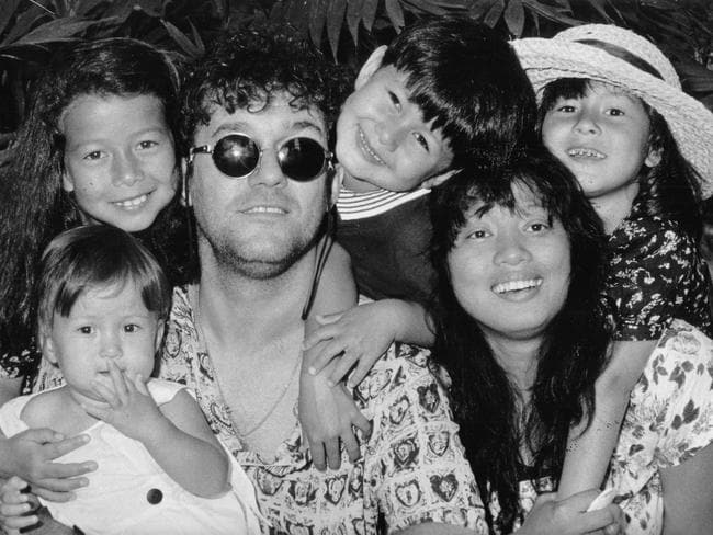 Jimmy Barnes with his wife Jane and their children. Picture: Supplied