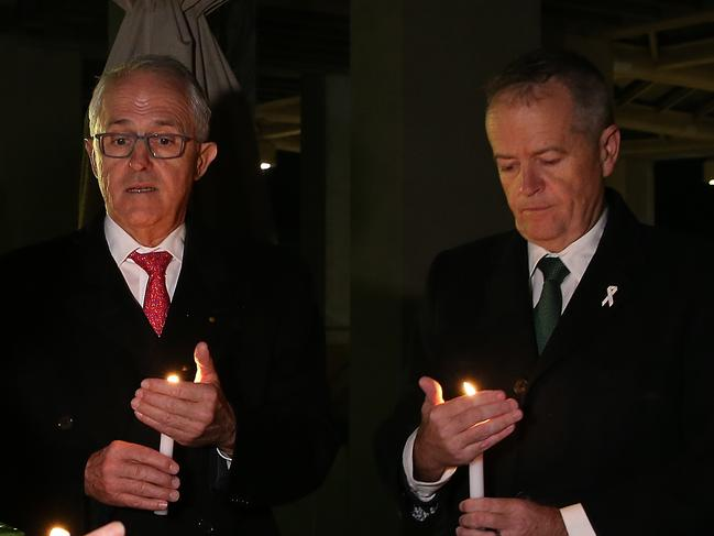 United in grief: Former PM Malcolm Turnbull and Opposition Leader Bill Shorten. Picture: Kym Smith