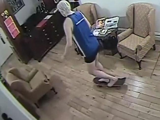 Bizarre footage has emerged of Wikileaks founder Julian Assange fooling around on a skateboard inside the Ecuadorean Embassy. Picture: El Pais