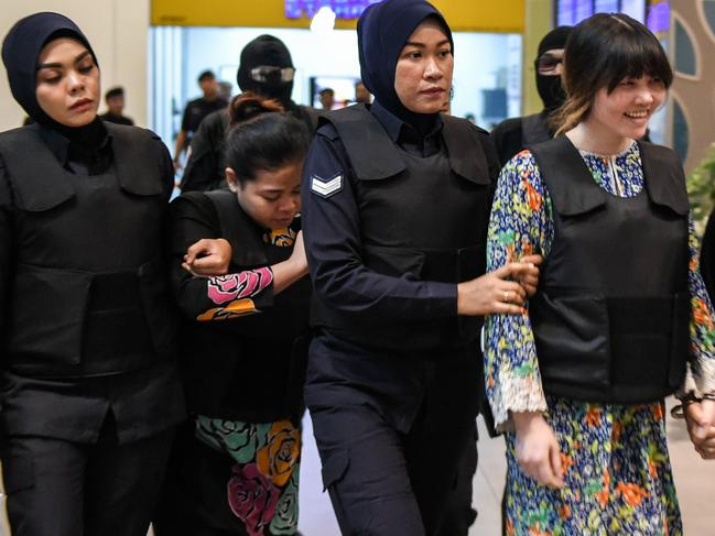 Doan Thi Huong (R) and Siti Aishah (2nd, L) are facing the death penalty, after being accused of assassinating the estranged half-brother of Kim Jong-un. Picture: AFP