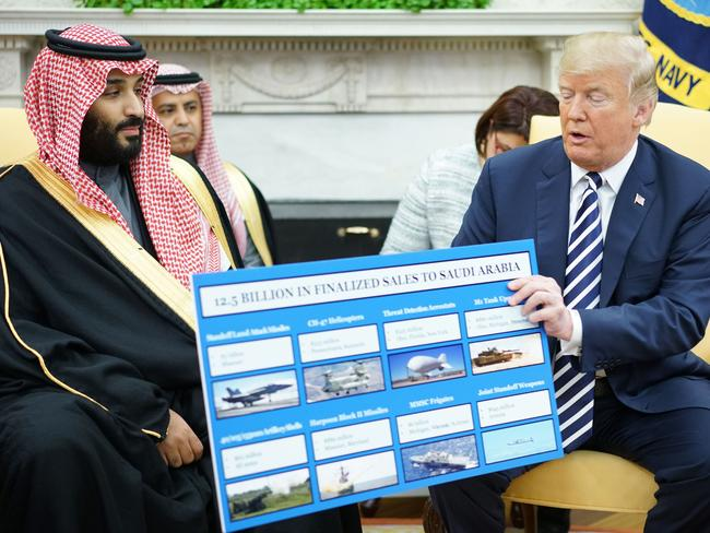 US President Donald Trump (R) holds a defence sales chart with Saudi Arabia's Crown Prince Mohammed bin Salman in Washington, DC. Picture: AFP