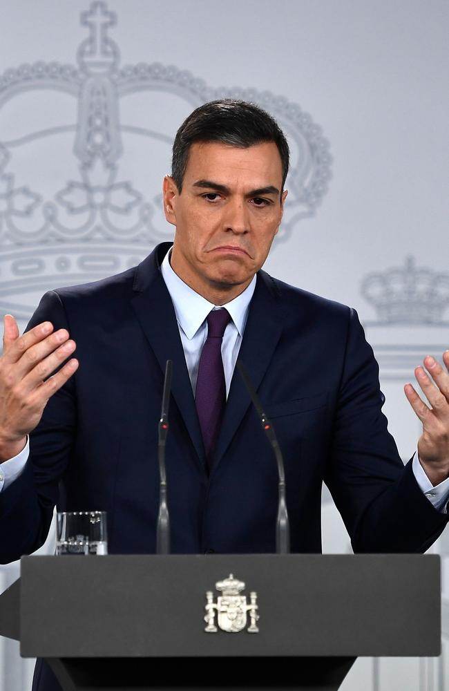 Spanish Prime Minister Pedro Sanchez holds a press conference after a cabinet meeting at the Moncloa Palace in Madrid. Picture: Pierre-Philippe Marcou