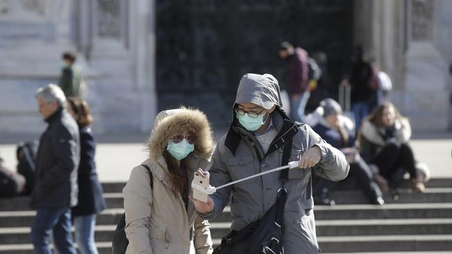In Europe, an expanding cluster of virus cases has been reported in northern Italy. Picture: Luca Bruno