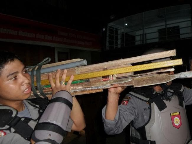 Seized ... Sharp weapons found inside Kerobokan jail.