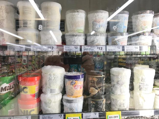 Woolies was sorry the ice cream was being sold 'in such state'. Picture: Bruce Rayne/Facebook