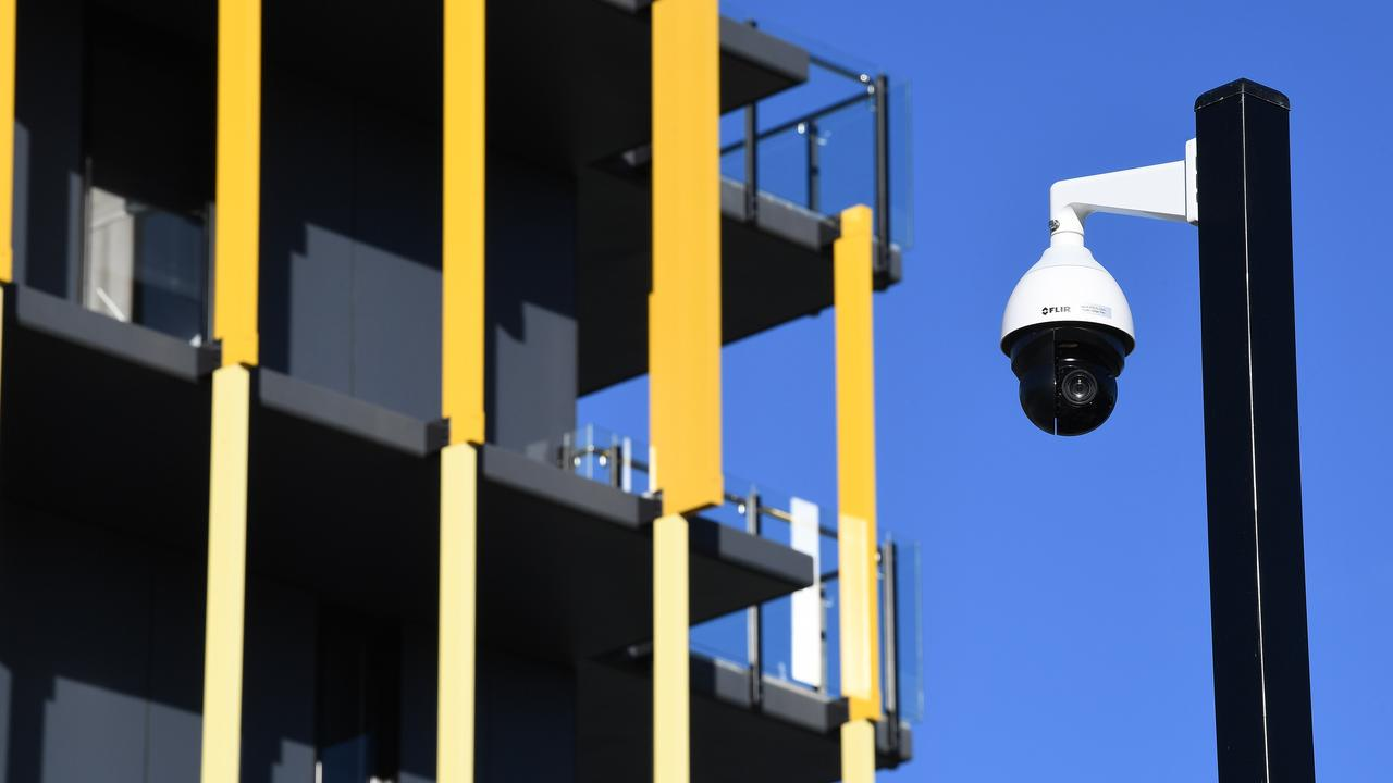 The company running the schools trial says it will use existing technology to be able to locate students on school grounds. This a security camera – which is one way of monitoring where people are – used in the athletes' village during the recent Gold Coast Commonwealth Games. Picture: AAP