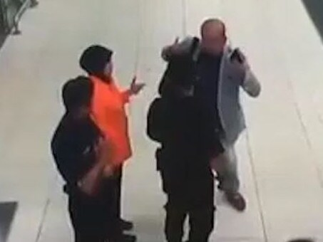 CCTV shows the North Korean heir explaining to airport staff and police what had just happened. Picture: Supplied