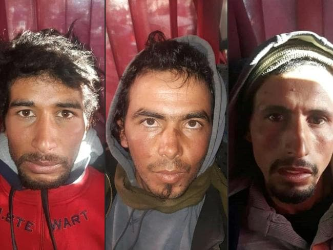 Combination of pictures of the first three suspects arrested in the Moroccan killing of two female tourists. Nine more have been arrested. Picture: AFP Photo