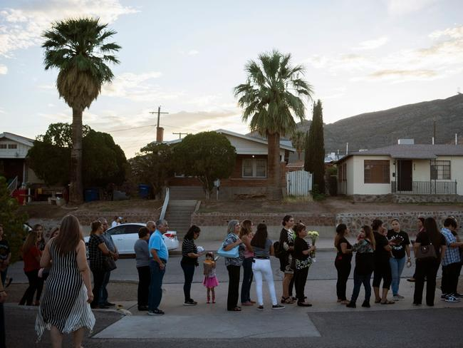 Mourners wait in line to farewell Margie Reckard. Picture: AFP