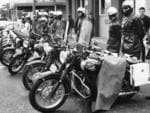 Motorcycle police line up in Currie St in 1970, as protests rally for the end of the Vietnam War.