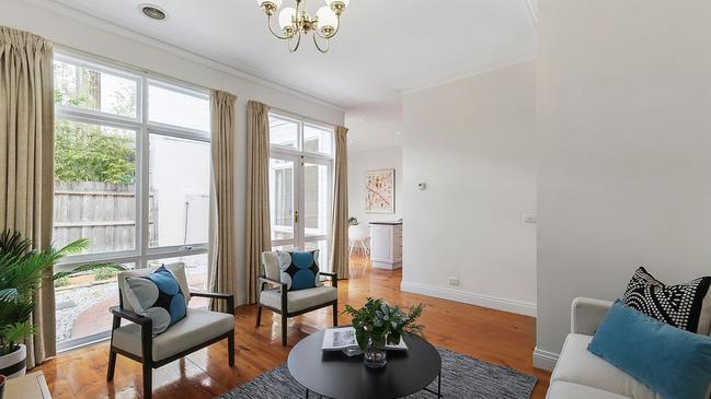 The two living areas are set at the rear of 29 Sercombe Ave, Hawthorn.