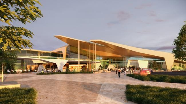 Artist impression of the proposed Gold Coast Airport plaza upgrade. Picture: Cox Architects