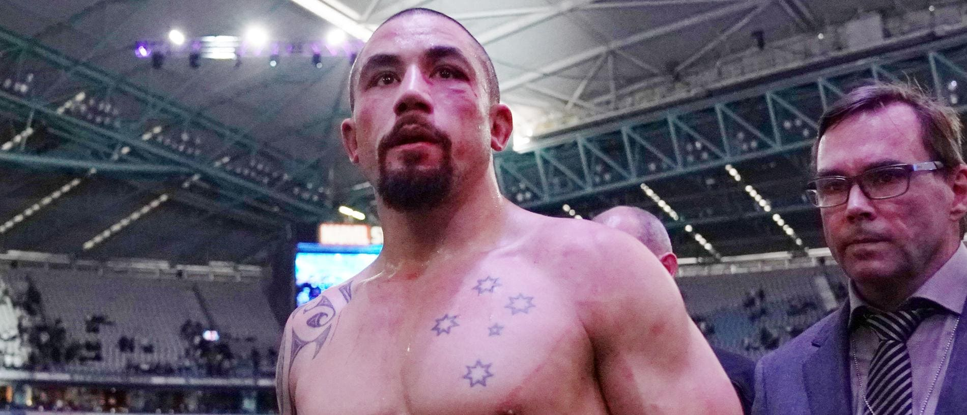 Robert Whittaker of Australia looks dejected after defeat against Israel Adesanya of New Zealand during UFC 243 at Marvel Stadium in Melbourne, Sunday, October 6, 2019. (AAP Image/Michael Dodge) NO ARCHIVING,EDITORIAL USE ONLY