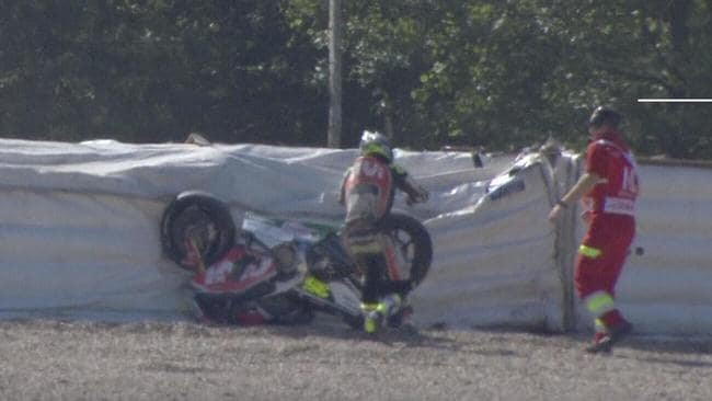 Cal Crutchlow crashed in practice at the Czech GP.