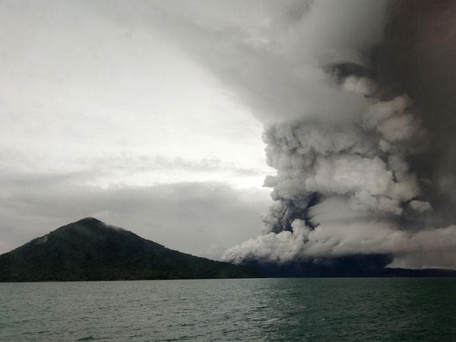 This picture taken on December 26, 2018 shows the Anak Krakatoa volcano erupting, as seen from a ship on the Sunda Straits. Picture: AFP