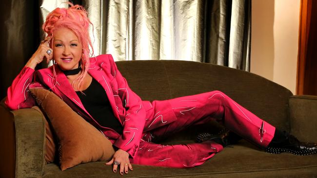 Cyndi Lauper, Kinky Boots composer and lyricist on her visit to Melbourne for the show's opening night. Pic: Stuart McEvoy.