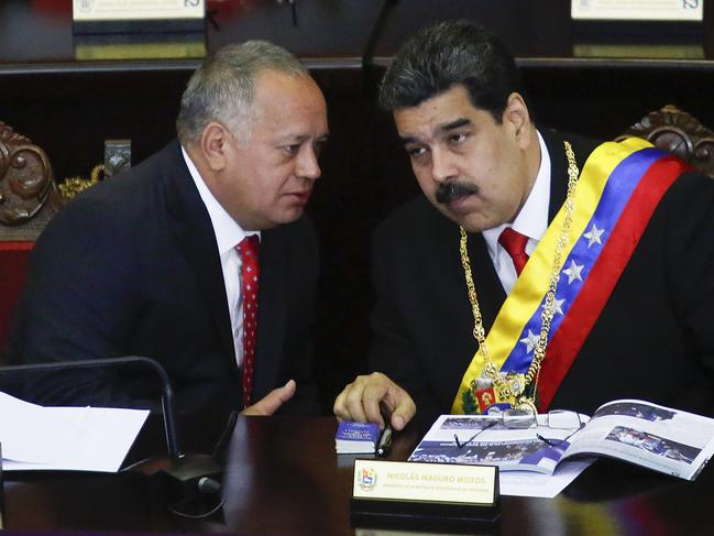 Diosdado Cabello (L) with incumbent president of Venezuela Nicola Maduro. America confiscated over one billion dollars from Cabello. Picture: Getty Images/Getty Images