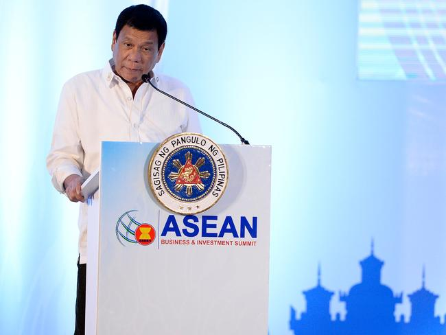 Philippine President Rodrigo Duterte delivers his address during the Association of Southeast Asian Nations (ASEAN) Business and Investment Summit in Vientiane.