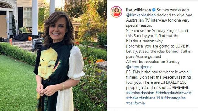 Lisa Wilkinson on location interviewing Kim Kardashian.