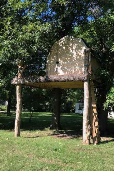 The treehouse Xavier fell from after he was attacked by insects then impaled with a meat skewer. Picture: Courtesy Shannon Miller/AFPSource:AFP