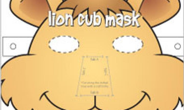 Lion cub face mask template