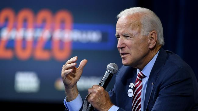 Democratic presidential candidate and former US Vice President Joe Biden speaks during the 2020 Gun Safety Forum hosted by gun control activist groups Giffords and March for Our Lives at Enclave on October 2, 2019 in Las Vegas, Nevada. Picture: Ethan Miller/Getty Images/AFP.