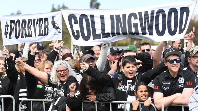 Collingwood supporters at the fan day at Olympic Park.