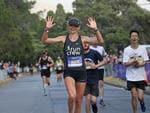 Katie Conlon breaks the Cadbury Marathon record. Picture: LUKE BOWDEN