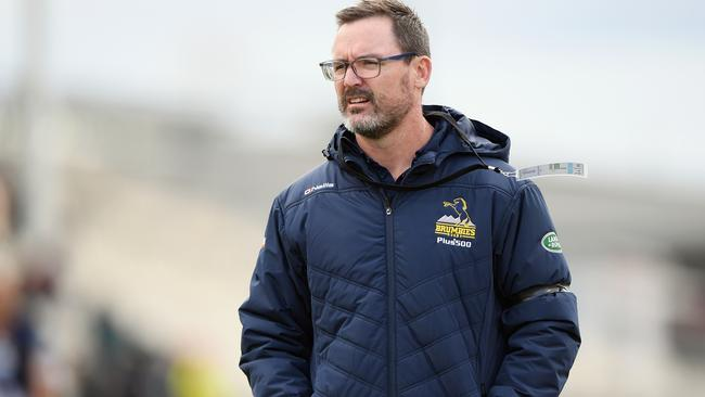 Coach Dan McKellar of the Brumbies looks on prior to the round 8 Super Rugby match.