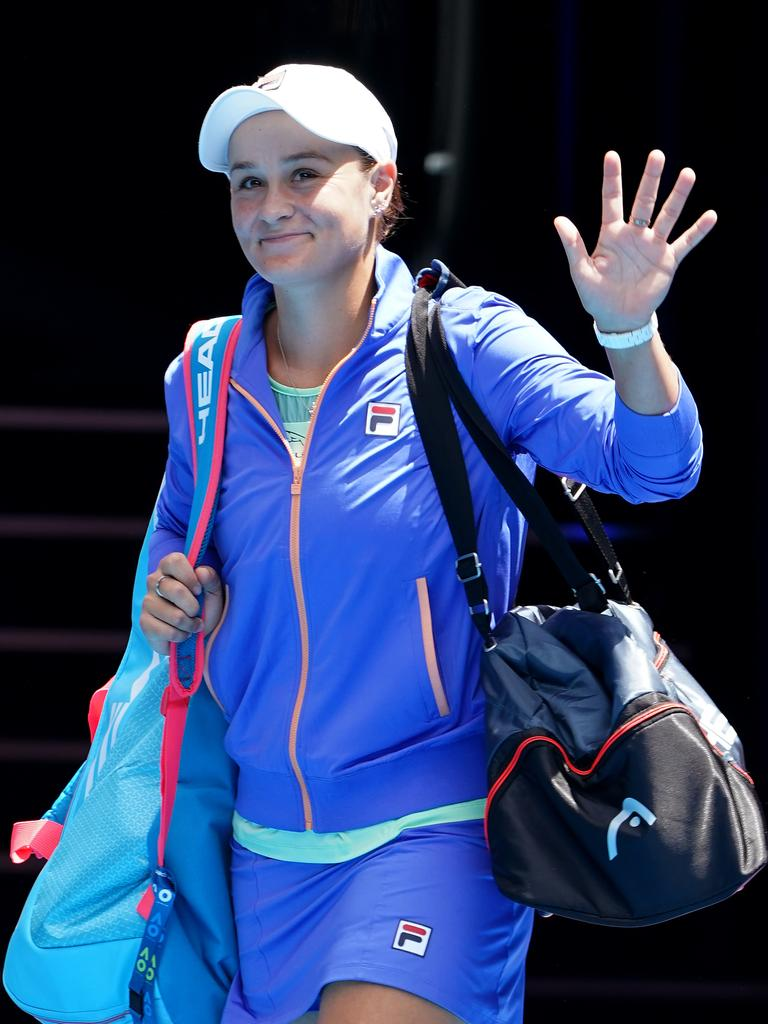 Ashleigh Barty of Australia arrives on court.