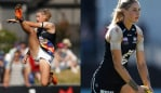Who is AFLW star Tayla Harris? Image L: Michael Willson/AFL Media; Image R: Quinn Rooney/Getty