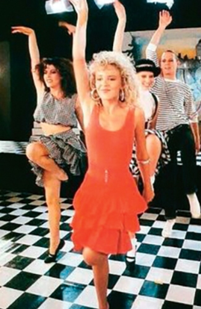 Kylie Minogue and her back up dancers rocking their rah-rah skirts in her 1987 hit 'Locomotion'.