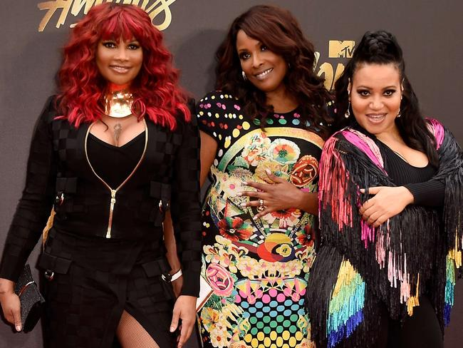 (L-R) Recording artists Sandra 'Pepa' Denton, DJ Spinderella and Cheryl 'Salt' James of Salt-N-Pepa attend the 2016 MTV Movie Awards. Picture: Getty