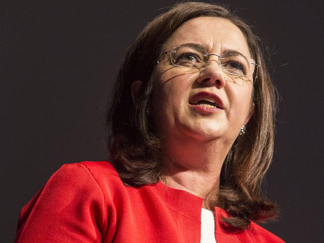 Queensland Premier Annastacia Palaszczuk speaks at the Queensland ALP's 53rd state conference on the Gold Coast today. Picture: Glenn Hunt