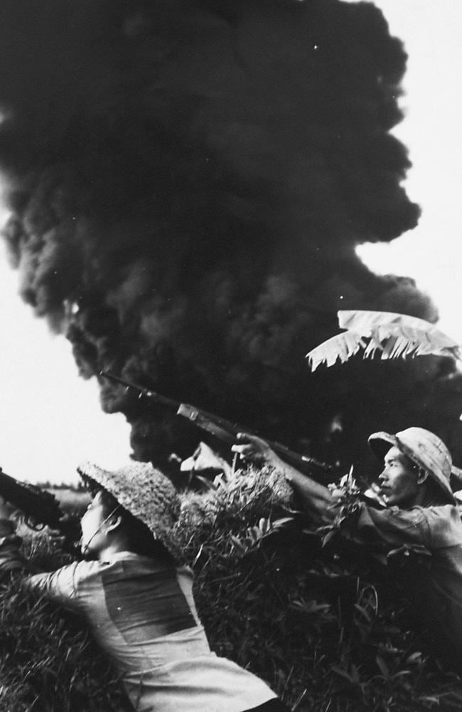 North Vietnamese fighters fire guns at American warplanes after they dropped bombs. Picture: AP