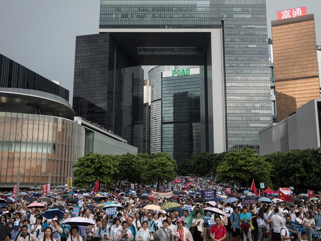 Tens of thousands of pro- Beijing demonstrators gather outside the Legislative Council Complex to show their support to the police on July 20, 2019 in Hong Kong, China. Picture: Chris McGrath