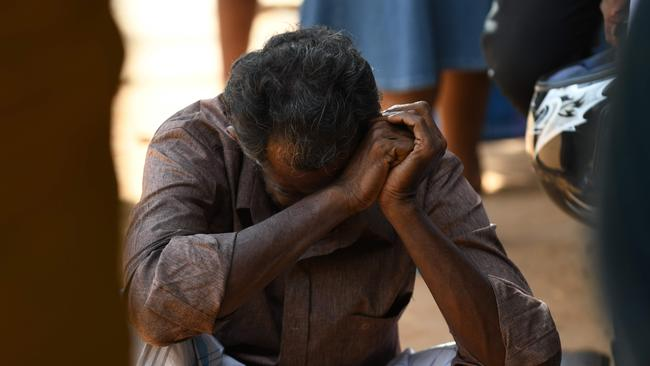 A relative of a Sri Lankan victim of an explosion at a church weeps outside a hospital in Batticaloa in eastern Sri Lanka on April 21, 2019. Picture: AFP.
