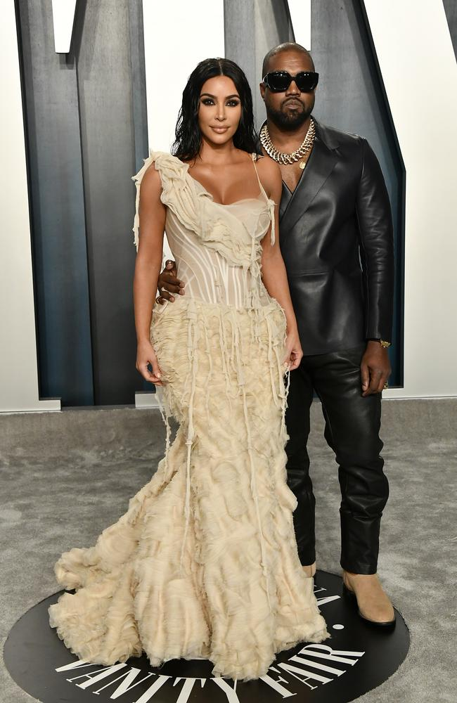 Kardashian and Kanye West posed outside the venue. Picture: Frazer Harrison/Getty Images