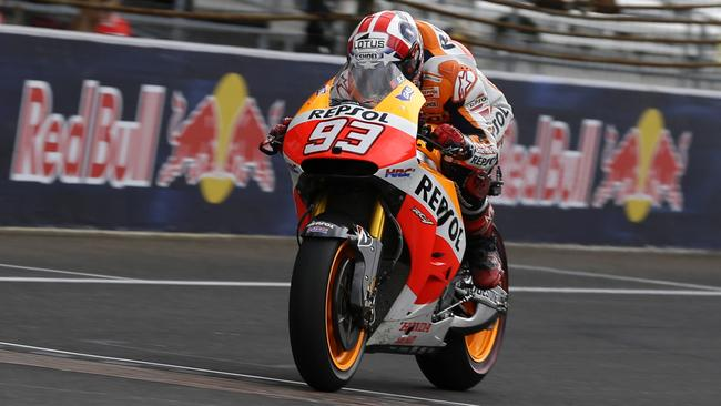 Marc Marquez crosses the finish line to win the Indianapolis MotoGP.