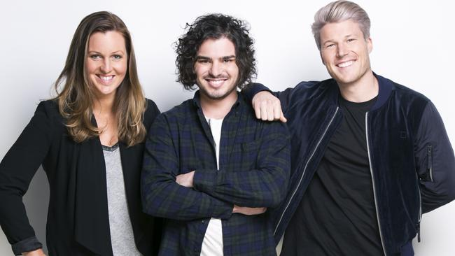 Amos, Cat and Angus are the hosts of the Hit107 breakfast show.