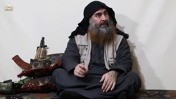 Abu Bakr al-Baghdadi detonated a suicide vest as US special forces closed in. The IS leader is pictured in an undated propaganda video. Picture: AFP
