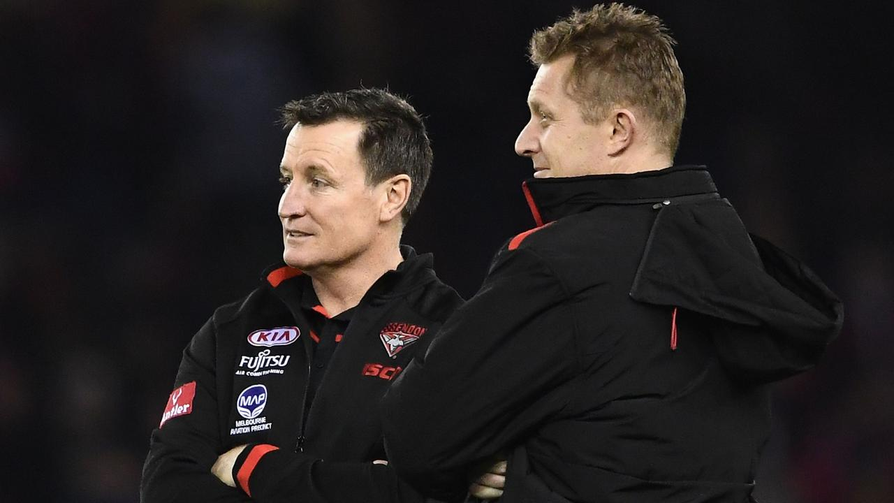 Essendon coach John Worsfold with assistant Mark Neeld in 2017. (Photo by Quinn Rooney/Getty Images)