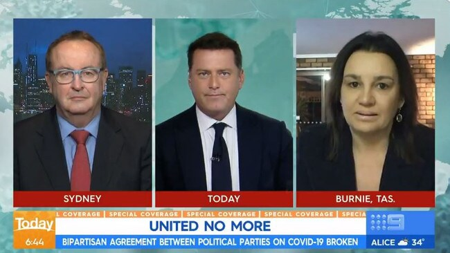 2GB's Chris Smith, Today host Karl Stefanovic and Jacqui Lambie. Picture: Today