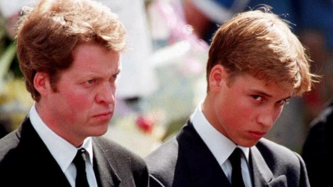 Earl Charles Spencer and Prince William of Wales outside Westminster Abbey in London prior to Diana's funeral service.