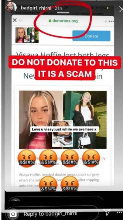 This image is being shared on social media warning people not to donate to a fake fundraiser.