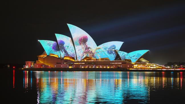 LA-based artist Andrew Thomas Huang's artwork was projected onto the sails of the Opera House.
