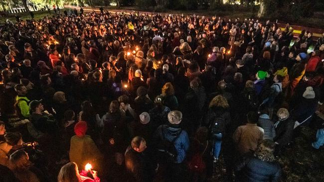 The vigil for Courtney Herron in Royal Park. Picture: Jason Edwards