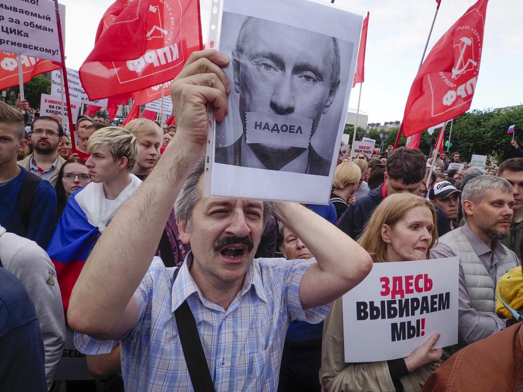 Unrest in Russia has been rising in recent months. Picture: AP Photo/Dmitri Lovetsky
