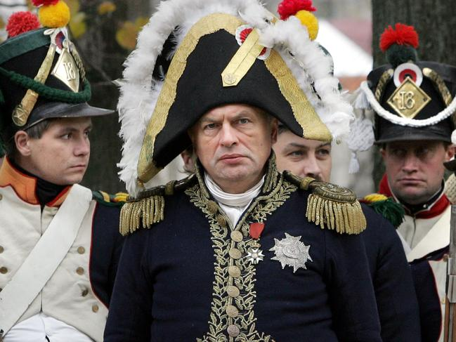 Oleg Sokolov, centre, taking part in the re-enactment of the 1812 battle between Napoleon's army and Russian troops. Picture: AFP