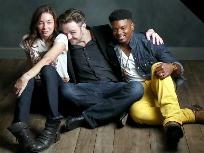 Matthew Newton with From Nowhere actors Julianne Nicholson and J. Mallory McCree at SXSW 2016 in Austin, Texas. Picture: Jonathan Leibson / Getty Images for Samsung